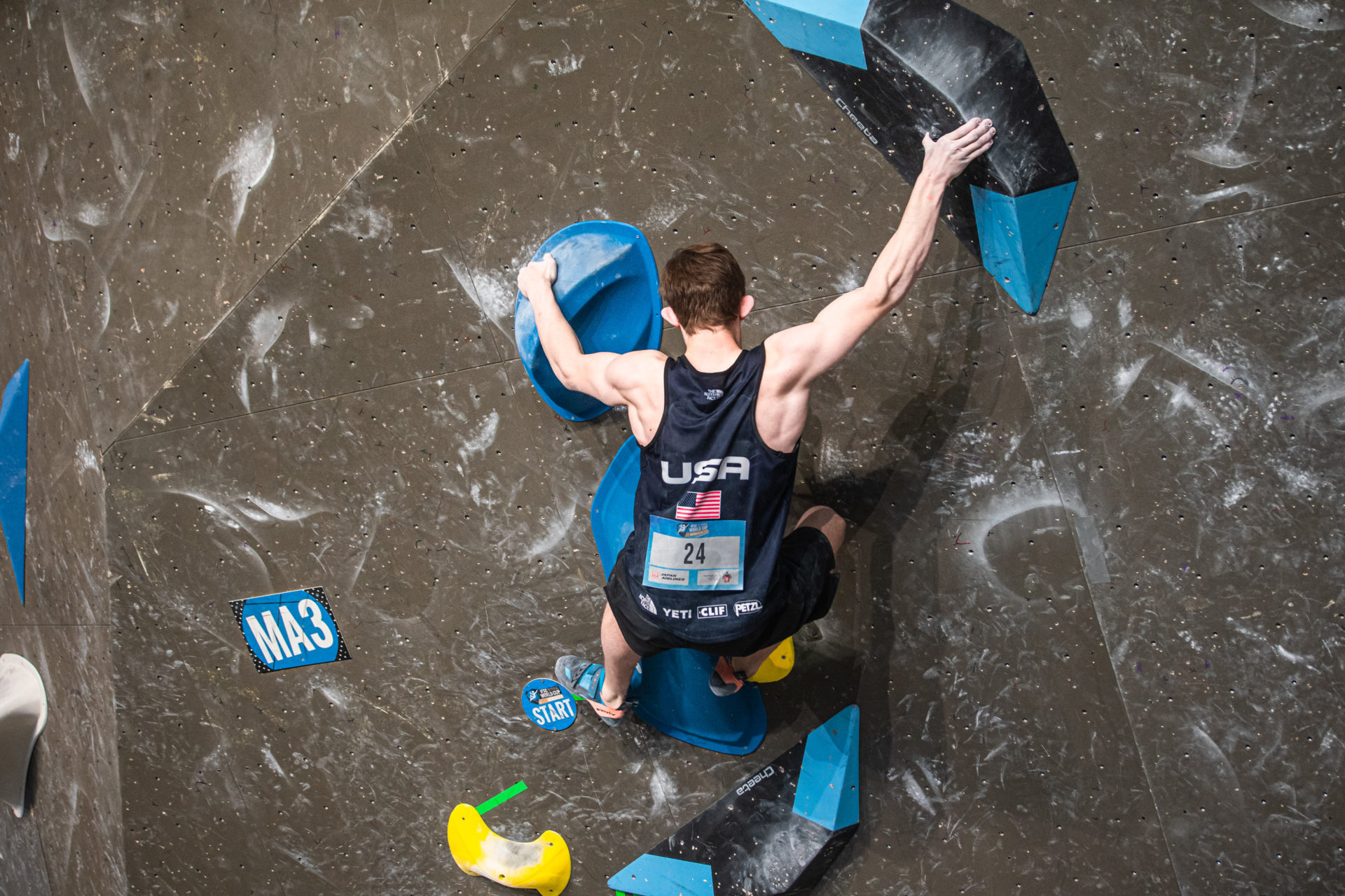 USA Climber Colin on climbing wall