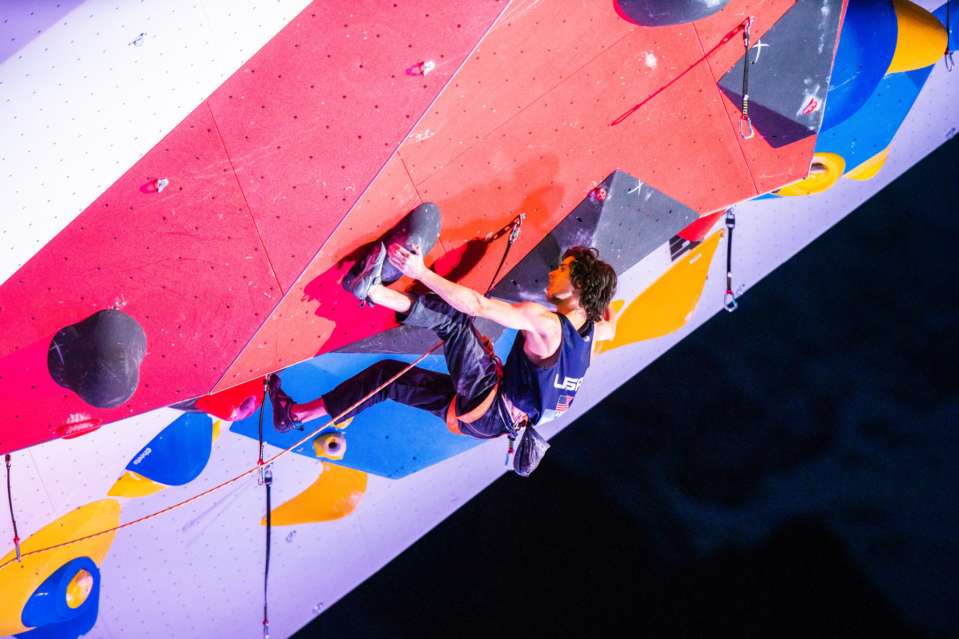 USA climber on climbing wall